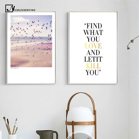 Nordic Style Sunset Sky Nature Poster Print Motivational Quotes Minimalist Wall Art Canvas Painting Picture for Living Room