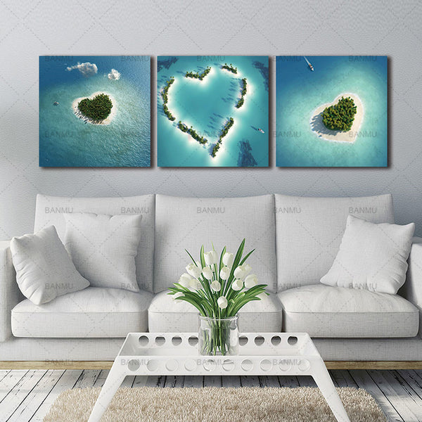 BANMU 3 Panels Canvas Paintings Wall Decorations Home Decor Photo Prints Heart-Shaped Island Wall Art Picture