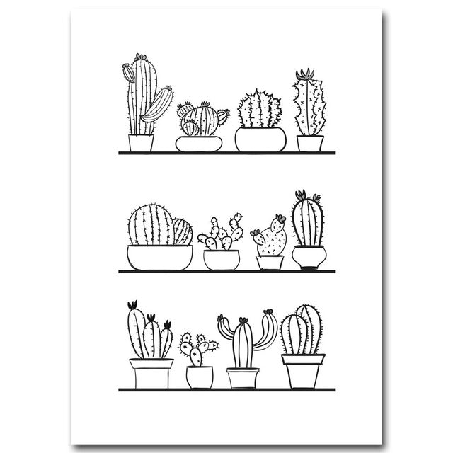 Nordic Art Cactus Plants Minimalist Art Canvas Poster Painting Black White Picture Print Modern Kids Room Decoration Wall Decor