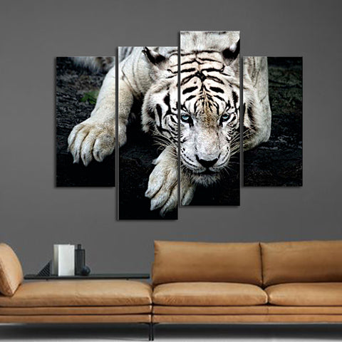 canvas Wall Art Painting Pictures Print On Canvas Animal  Black and White Tiger Lie On RockThe Picture Home Modern Decoration