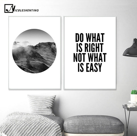 Mountain Landscape Motivational Poster Quote Print Minimalist Wall Art Canvas Painting Picture for Living Room Nordic Decoration