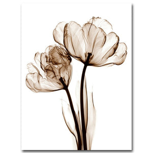 Gray Plant Flowers Canvas Poster Minimalist Art Painting Abstract Wall Picture Print Modern Home Room Decoration