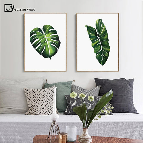 NICOLESHENTING Watercolor Tropical Plants Leaves Poster Print Minimalism A4 Wall Art Canvas Painting Nature Picture Home Decor