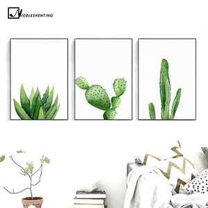 Plant Cactus Decor Nordic Poster Print Minimalist Wall Art Canvas Painting Picture Living Room Decoration Home Decor