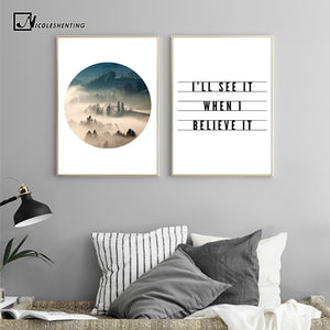 Mountains Forest Landscape Poster Canvas Print Motivational Quotes Minimalist Wall Art Painting Picture Nordic Decoration