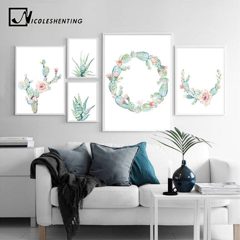 Watercolor Plant Cactus Decoration Poster Print Minimalist Wall Art Canvas Painting Nordic Style Wall Picture for Living Room