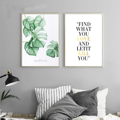 Watercolor Leaves Motivational Poster Quote Wall Art Canvas Prints Minimalist Painting Wall Picture for Living Room Home Decor