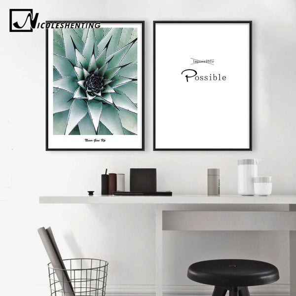 Flower Plants Motivational Poster Quote Wall Art Canvas Prints Minimalist Painting Decorative Picture Modern Home Decoration