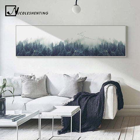 Nordic Decor Foggy Forest Landscape Wall Art Poster Canvas Art Print Forest Painting Wall Picture for Living Room