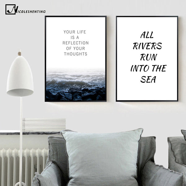 Nordic Art Sea Waves Ladscape Canvas Poster Minimalism Painting Motivational Wall Picture Print Modern Home Room Decoration