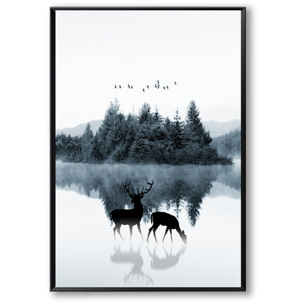 Deer Elk Landscape Forest Wall Art Canvas Painting Cuadros Posters Nordic Poster Picture Wall Pictures For Living Room Unframed