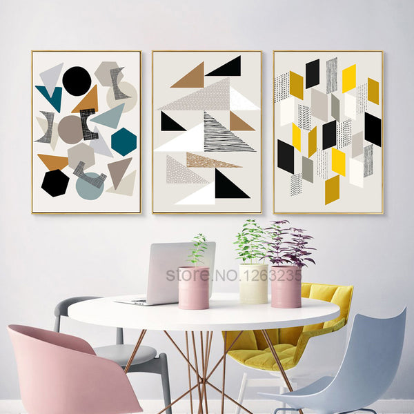 Yellow Abstract Geometry Cuadros Nordic Poster Wall Art Canvas Painting Picture Posters Wall Pictures For Living Room Unframed