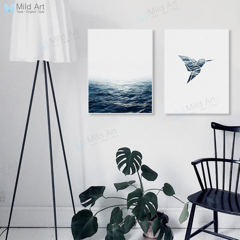 Modern Minimalist Abstract Sea Ocean Bird Posters Nordic Living Room Wall Art Print Pictures Home Decor Canvas Painting No Frame