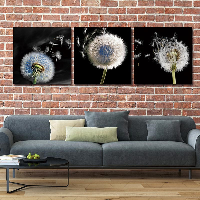 Canvas Wall Art Canvas Painting decoration for living room BANMU 3 pieces Dandelion landscape wall Pictures HD print no frame