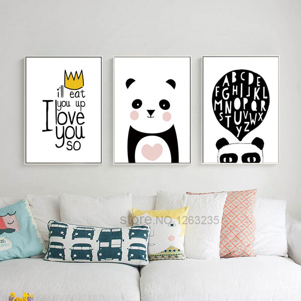 Cartoon Picture Cute Panda Nordic Style Kids Decoration Kids Room Nordic Poster Wall Pictures For Living Room Cuadros Unframed