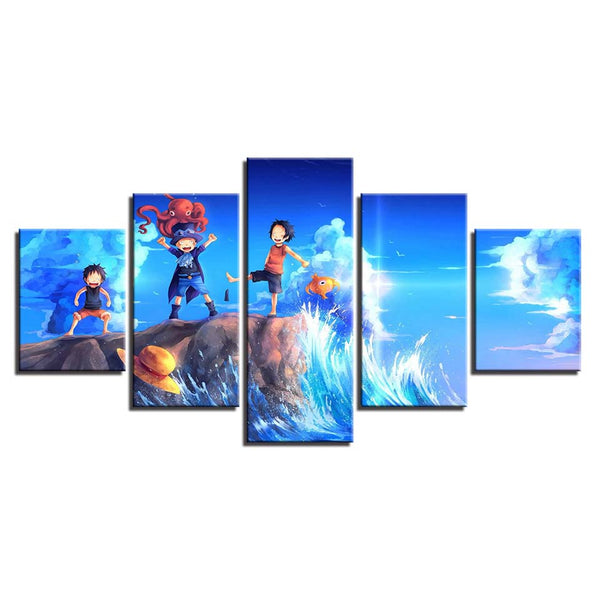 Canvas HD Printed Poster Living Room Home Decor Framework 5 Pieces One Piece Paintings Wall Art Cartoon Luffy Sabo Ace Pictures