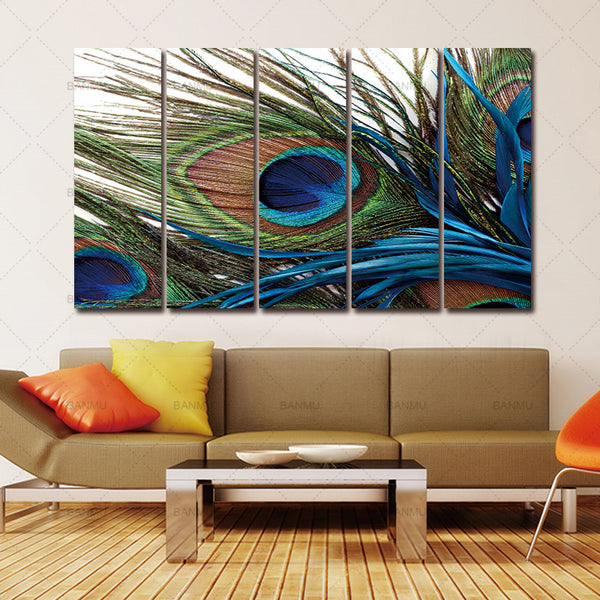 Modern Home Wall Decor Painting Canvas Painting Wall Picture Modern 5 Pieces still life oil Canvas Painting Peacock Feather