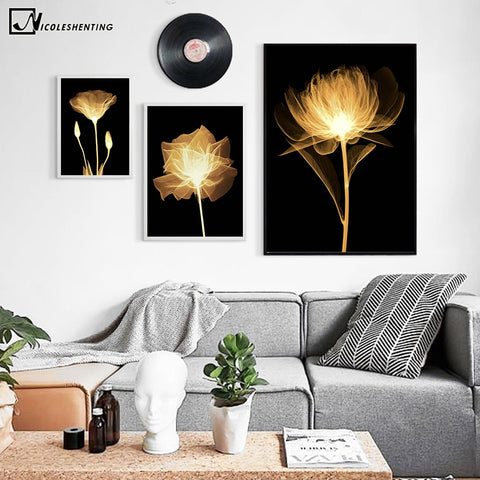 Tulips Rose Flower Canvas Poster Minimalist Art Canvas Painting A4 Wall Picture Print Modern Home Living Room Decoration