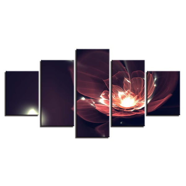 Wall Art Home Decor Framework Canvas Pictures 5 Pieces Abstract Glowing Red Flowers Paintings For Living Room HD Prints Posters