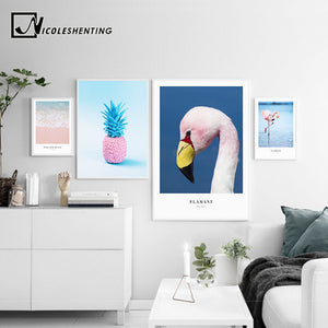 Ocean Sea Wave Flamingo Landscape Canvas Poster Noridc Style Pink Pineapple Wall Art Print Painting Decorative Picture