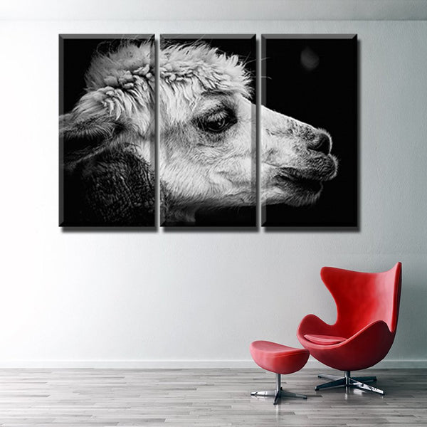 White & Black Beautiful Alpaca Painting Print Canvas 3PCS High Quality Poster for Modern Home Decor Artwork Wall Art Gift Custom
