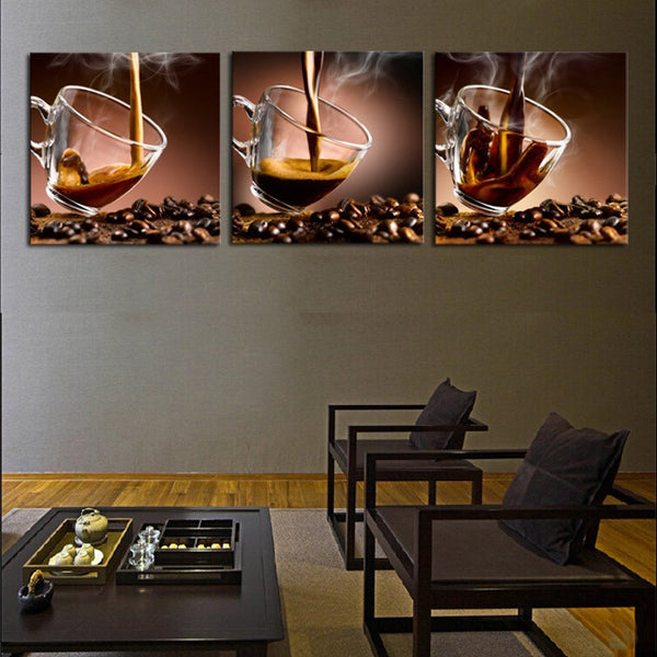 Decor Canvas Art Picture Print Painting On Canvas wall art Luxury 3 Piece Coffee Cup decoration for Modern Home Wall  No Frame