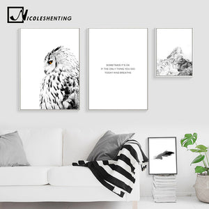 NICOLESHENTING White Owl Snow Mountain Canvas Poster Landscape Wall Art Prints Nordic Style Painting Picture Home Decoration