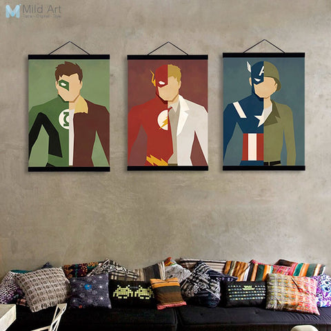 Batman Ironman Spiderman Wooden Framed Canvas Painting Boys Room Superhero Movie Home Decor Wall Art Print Picture Poster Scroll