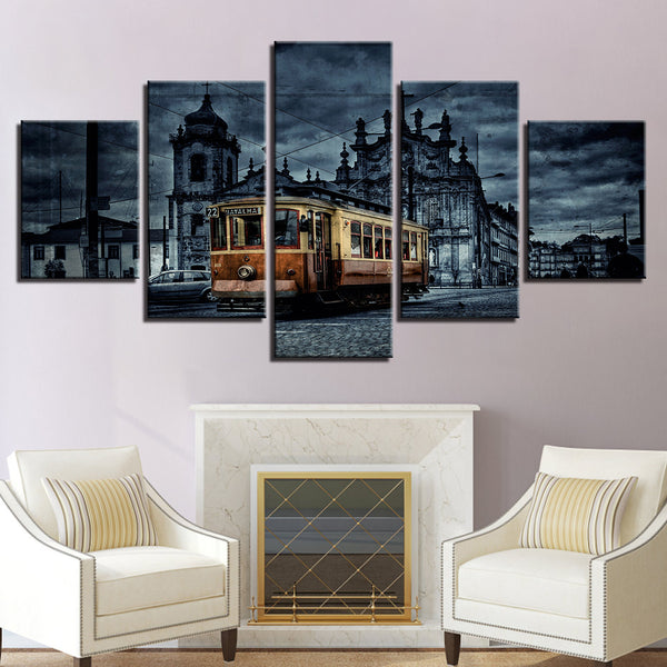 Canvas Pictures Framework Living Room Home Decor HD Prints Poster 5 Pieces Retro European City Building Tram Paintings Wall Art