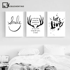 Nordic Style Deer Antlers Bible Canvas Poster Minimalist Wall Art Prints Black White Abstract Painting Picture Modern Home Decor