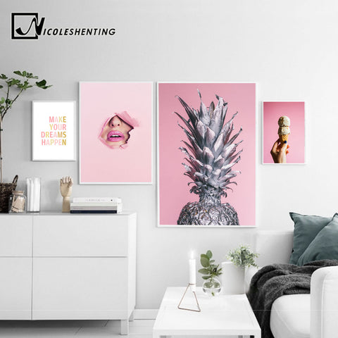 NICOLESHENTING Pineapple Inspirational Qutoe Wall Art Canvas Poster Nordic Prints Abstract Painting Wall Picture for Living Room