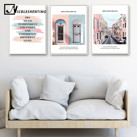 NICOLESHENTING City Landscape Life Quote Canvas Art Posters Prints Motivational Painting Nordic Wall Picture for Room Decor