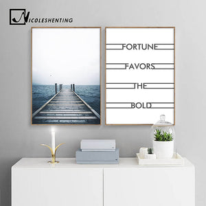 Ocean Dock Sea Landscape Wall Art Canvas Poster Nordic Minimalist Print Painting Wall Picture for Living Room Home Decor