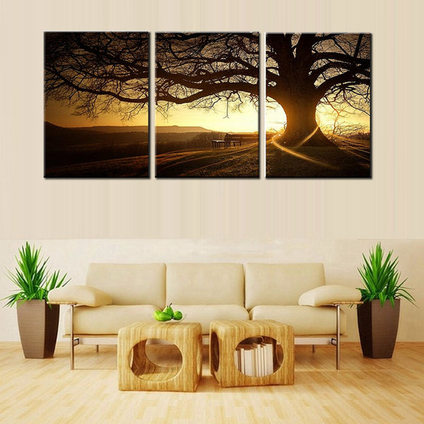 Simple Life 3 Panels Modern Printed Tree Painting Picture Sunset Canvas Painting Wall Art Home Decor For Living Room Unframed