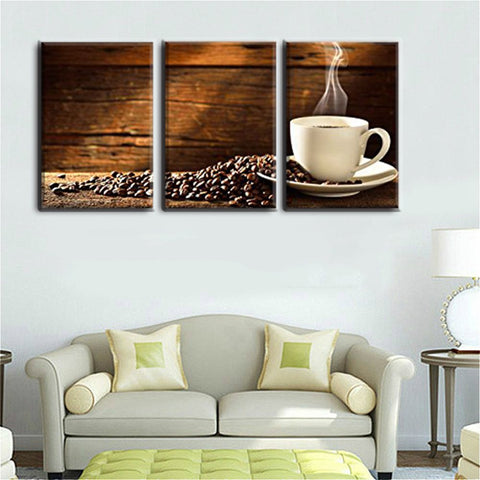 3PCS Wall Decor Coffee and Coffee Beans HD Picture Print Canvas Art Painting for Shop Office Kitchen Decoration Christmas Gift