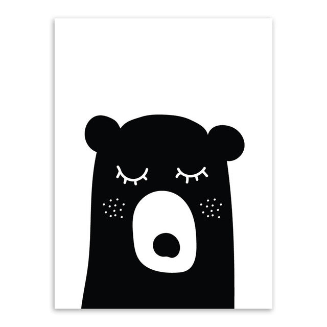 Black White Kawaii Animals Bear Rabbit Poster Prints Nordic Baby Kids Room Wall Art Pictures Home Decor Canvas Painting No Frame
