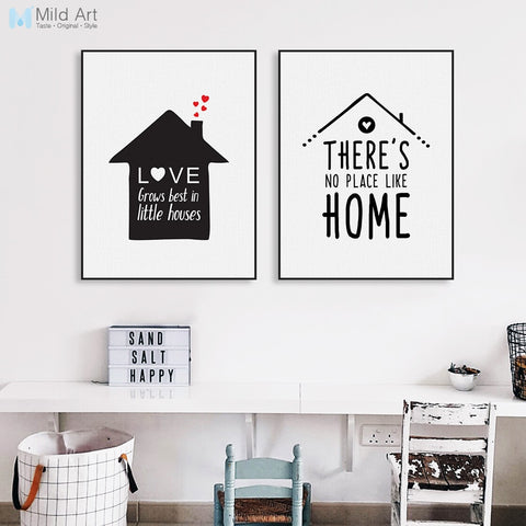Black White Minimalist House Family Love Quote Poster Print Nordic Kids Room Wall Art Picture Home Deco Canvas Painting No Frame