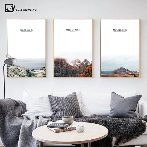 Nordic Style Mountain Landscape Poster Prints Minimalism Wall Art Canvas Painting Picture Modern Room Decoration Home Decor