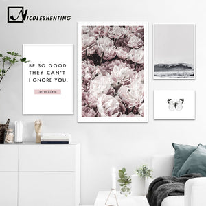 NICOLESHENTING Rose Flower Ocean Landscape Canvas Art Posters Prints Motivational Painting Nordic Wall Picture for Room Decor