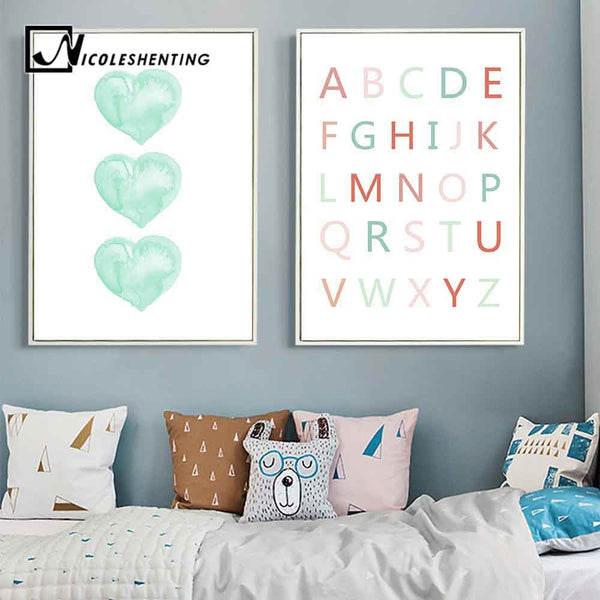 Watercolor Heart A to Z Alphabet Wall Art Canvas Posters Nursery Prints Large Canvas Painting Nordic Picture Kid Room Decoration