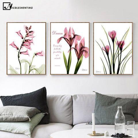 Tulips Flower Landscape Poster Print Minimalist Art Canvas Painting Plant Abstract Wall Picture Modern Home Living Room Decor