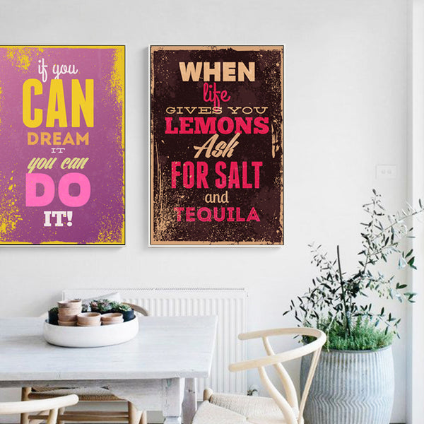 Elegant Poetry Retro English Motto Inspirational Quote Color Canvas Painting Art Print Poster Picture Wall Paintings Wall Decor