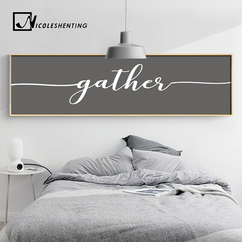 Nordic Style GATHER Wall Art Poster Letter Art Canvas Print Long Painting Wall Picture for Living Room Modern Office Decoration