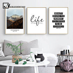 NICOLESHENTING Mountains Landscape Life Quote Canvas Art Posters Prints Motivational Painting Nordic Wall Picture for Room Decor