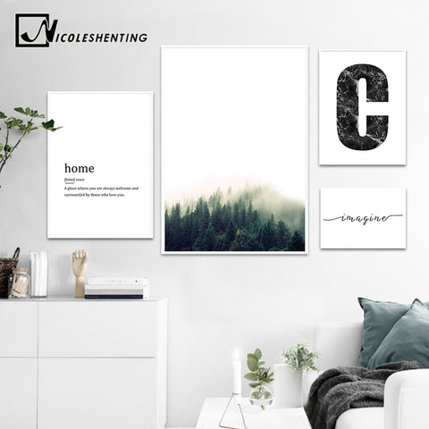 NICOLESHENTING Forest Canvas Posters Prints Nordic Style Simple Quote Wall Art Landscape Painting Decorative Picture Home Decor