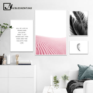 NICOLESHENTING Feather Leaf Canvas Art Poster Print Motivational Landscape Painting Nordic Styel Wall Picture for Living Room