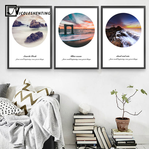 Nordic Style Sea Beach Landscape Poster Motivational Canvas Print Minimalist Wall Art Painting Decorative Picture Home Decor