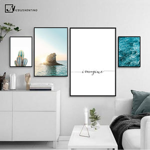 Sea Sunset Motivational Poster Quote Print Nodic Style Wall Art Canvas Painting Cactus Picture Room Decoration Modern Home Decor