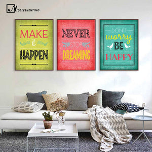 Motivational Quotes Art Canvas Vintage Poster Minimalist Painting Inspiratoinal Education Picture Modern Home Office Room Decor