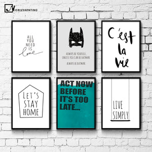 Cartoon Batman Quote Motivational Poster Print Wall Art Canvas Painting Life Quote Picture for Living Room Decoration Home Decor